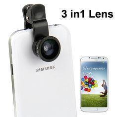 3 in 1 Clip Lens 180 Degree Fisheye + 0.4x Wide Angle + Macro Lens for Smartphone (BLACK)