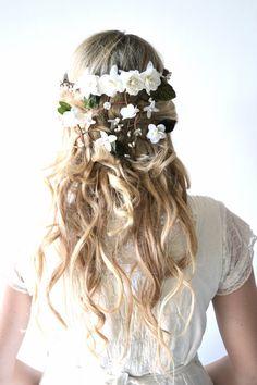 Bridal crown, flower head wreath, wedding hair accessory, woodland hair piece, Hair Wreath, Circlet, White, headpiece - MAY POLE