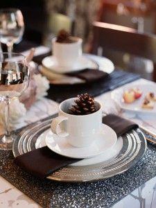 Fall Tablescape-Dark Brown & Silver, White