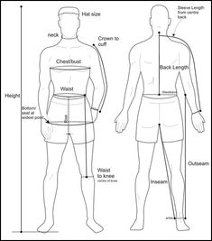 Measuring Instructions - Male Many new sewers (and even a good number of… Sewing Men, Sewing Clothes, Custom Clothes, Sewing Hacks, Sewing Tutorials, Sewing Patterns, Suit Measurements, Body Measurement Chart, Tartan