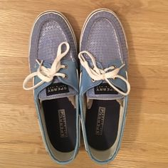 Blue Sequined Sperry Topsider Shoes Worn a few times. Laces are like VANS shoelaces. Sperry Top-Sider Shoes
