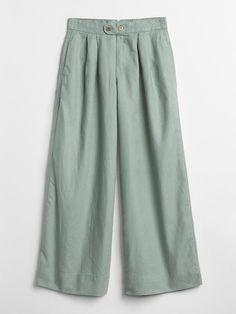 Gap Womens High Rise Wide-Leg Pants In Linen-Cotton - Desert Sage Regular 00 New Kurti, Mori Girl Fashion, Women's Fashion, Fashion Vocabulary, Pants For Women, Clothes For Women, Baby Kids Clothes, Linen Pants, Couture