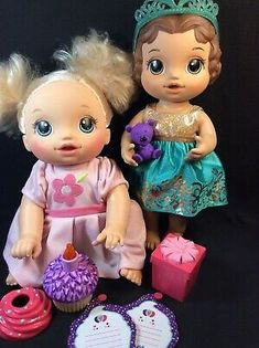 Lot of Baby Alive dolls Go Bye Bye Cupcake Birthday Accessories Clothes My Life Doll Accessories, Birthday Accessories, Baby Alive Doll Clothes, Baby Alive Dolls, New Dolls, Barbie Dolls, Baby Alive Magical Scoops, Baby Doll Diaper Bag, Red Hair Doll