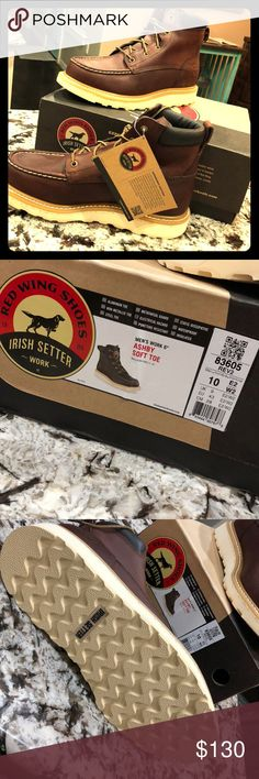 """RED WING SHOES Irish Setter Work Boot - NEW NEW Men's 6"""" Ashby soft toe leather work boots Red Wing Shoes Shoes Boots"""