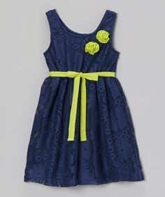 Another great find on #zulily! Navy Rosette Lace Abbey Dress - Girls by Pogo Club #zulilyfinds