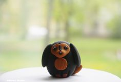 Dachshund Dog Figurine / Quail-Egg-Shaped Cake Cupcake Topper / Collectible Toy by Naboko Studio