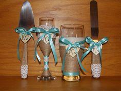 Rustic Wedding Cake Serving Set Champagne by CarolesWeddingWhimsy