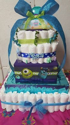 Monsters inc baby shower pamper cake