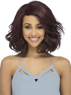 AL-Brynica Wig by Vivica Fox: Full body wave at the bottom ends and is a mature/ageless style for all. Synthetic Lace Front Wigs, Synthetic Hair, Vivica Fox, Styling Brush, Color Ring, Wig Styles, Body Wave, Beautiful Eyes, Hair Pieces