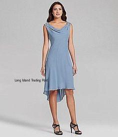 Mother of Bride Groom Formal Blue Chiffon Hi Low Panel Dress Beaded Wedding 16 | eBay