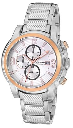 Champion CA30507Q Men's Watch Chronograph With Silver Stainless Steel Band