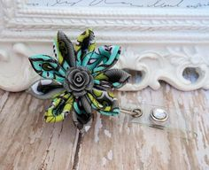 Retractable Id Badge Holder, Aqua, Apple Green and Gray Floral Ribbon Flower Badge Reel ID, Cute Badge Reel, Kanzashi Flower  Badge Reel