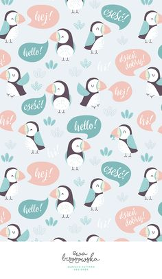 """Very talkative puffins ;) Surface pattern design with the motif of puffins saying """"hello"""" in english and polish. Scandinavian textile design for children."""