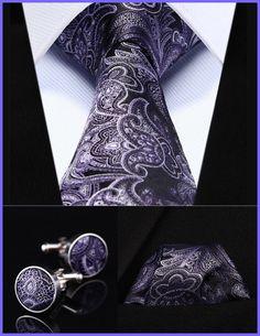 "TZP03P8 Purple Paisley 3.4"" Silk Men Tie Necktie Handkerchief Cufflinks Set"