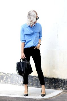 Get the look: Nick Campbell sunglasses (similar black sunglasses here), Equipment blue silk shirt, Cheap Monday jeans (with DIY frayed edges), Larsson & Jennings watch, Proenza Schouler fringed satchel and Yvonne Kone pumps