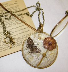 Round White/Brown/Gold Artwork Shell Long Necklace by ArtLery, $25.00
