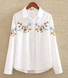 nvyou gou 2018 Floral Embroidered Blouse Shirt Women Slim White Tops Long Sleeve Blouses Woman Office Shirts plus size-noashe White Shirts Women, Blouses For Women, Black Shirts, White Women, The Office Shirts, Mein Style, Pretty Shirts, Loose Shirts, Cotton Shirts