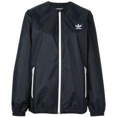 Adidas Originals x HYKE three layer windbreaker jacket ($193) ❤ liked on Polyvore featuring activewear, activewear jackets, black, adidas originals and logo sportswear