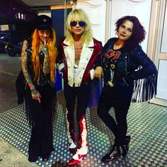 """After the Alice Cooper show we were exiting the artists entrance at around 02:00 and Michael Monroe was outside of the o2 Arena. I had previously seen Michael Monroe in Hanoi Rocks when they opened for Motörhead in 2011. Anna and her friend Shelly wanted photos with him.  He was being a super diva extremely weird and a little bitch to Anna who had taken me to the gig because she was one of the DJs of the afterparty. So when I took the photo with the girls and him I said """"Looking great…"""