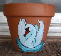 Swimming Swan  4.25 inch flower pot Acrylic