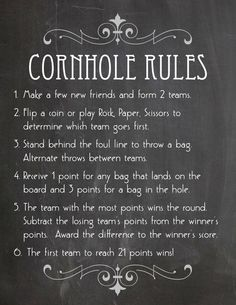 Printable Cornhole Rules and 2 Signs in Faux by KnottedLife (diy wedding reception giant jenga)