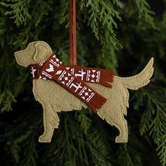 Beautiful Christmas Decorations, Felt Christmas Decorations, Tree Decorations, Christmas Ornaments, Holiday Decor, Christmas Scarf, Christmas Dog, Golden Retriever Gifts, Red Ribbon
