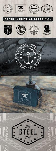 Retro Industrial Logos - Volume 2 by Adrian Pelletier. Logo Branding, Branding Design, Brand Identity, Welding Logo, Sailor Logo, La Forge, Cafe Logo, Industry Logo, Hipster Logo