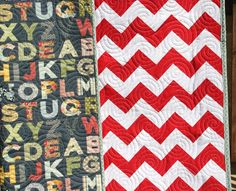 SALE Alphabet Letters Chevron Baby Quilt by SunnysideDesigns2. Just 2 coordinating fabrics quilted.