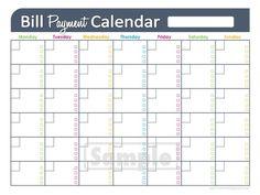 Bill Payment Calendar  EDITABLE   Personal by FreshandOrganized, $3.50
