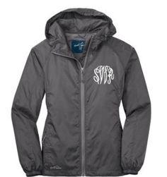 Gray monogramed rain jacket