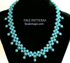 Free pattern for beaded necklace Firoza with turquoise   U need: seed beads 11/0 round beads 6 mm