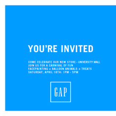 It's a celebration and you're invited! Check out Gap's grand re-opening at University Mall on Saturday April, 18th. Stop by from 1PM to 5PM for face painting, balloon animals, treats, and a first look at the season's freshest looks!  #Utah #fashion #TheGap #Deals #style #kids #events