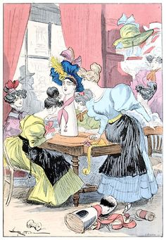 The milliners.    From Le XIXe siècle (The XIX century), written and illustrated by Albert Robida, Paris, 1888.    (Source: archive.org)