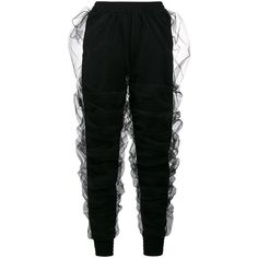 Y / Project draped tulle sweatpants ($1,090) ❤ liked on Polyvore featuring activewear, activewear pants, black and sweat pants