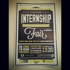 The internship, summer job & volunteer fair is approaching! 2/20/2013 from 12-4pm in the EMU Fir Room Concourse