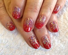 CND Shellac in Wildfire with Twinkle Edition Collection additive in Silver Shimmering Glitter. xDBDx