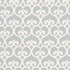 Fog Spade from Serena and Lily, would past this fabric to the wall in bathroom with white wains coating along the bottom