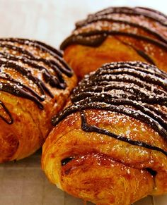 Recipe | EASY Chocolate-Filled Croissants ... If you've tasted the simple pleasures of coffee and croissants first thing in the morning, then you know that the French know how to live well. Wouldn't you love to start your day with a bit of chocolate too? ... #dessert #mother's day