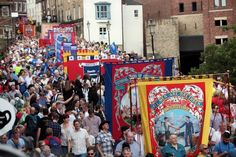 Colliery banners old and new will be paraded at the Durham Miners' Gala St Johns College, End Of An Era, North East England, Coal Mining, British Isles, Durham, Old And New, Tapestry, Socialism