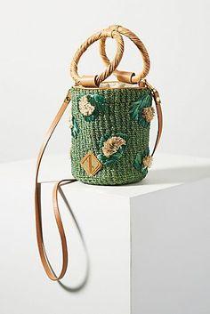 Aranaz Bianca Embroidered Bucket Bag