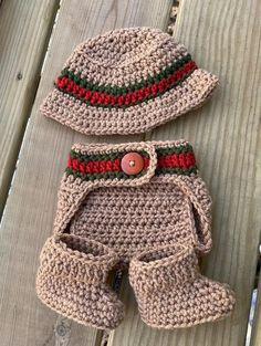 Cute Vintage Style BrownTan Crocheted Cap Hat