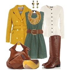 To complete: green polka dot dress, yellow trench <3
