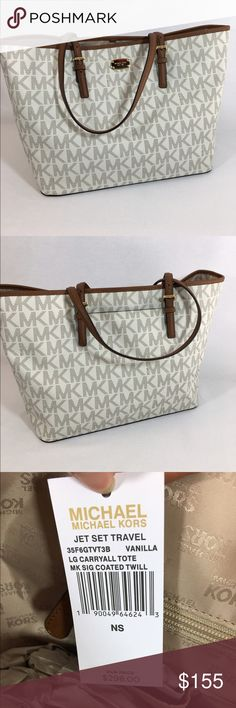 """Michael Kors Jet Set Travel Large Tote Michael Kors Jet Set Travel Large Tote. Vanilla logo. With a back pocket and plenty of pockets inside.                 Dimensions: 15""""W x 11.5""""H x 7""""D Handles with strap drop of 9"""" Fashion Trend: Top-Handle Leather Tote Michael Kors Bags Totes"""