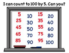 "100th Day of School counting poster in fun whiteboard Count to 100 by 5 design: ""I can count to 100 by 5. Can you?"""