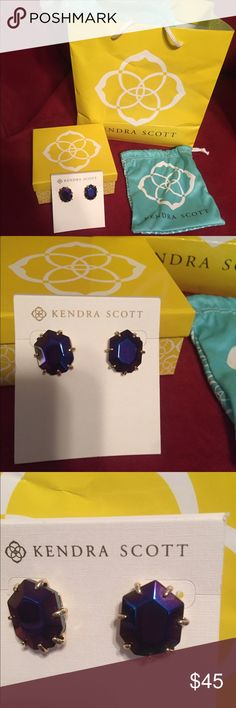 New Kendra Scott iridescent morgans Brand new Kendra Scott black Iridescent Morgan's, still in box! These change colors to what you are wearing! Kendra Scott Jewelry Earrings
