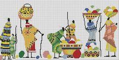 Long Rectangular Cross Stitch Pattern of Many African Villagers Cross Stitching, Cross Stitch Embroidery, Hand Embroidery, Cross Stitch Charts, Cross Stitch Patterns, African Artwork, Peyote Patterns, Little Gifts, Needlepoint