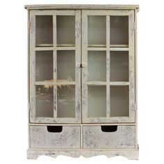 Weathered cabinet with 2 paned doors and 2 lower drawers.  Product: CabinetConstruction Material: Wood and glass...
