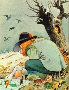 Гадкий_утенок_10 Рано утром проходил мимо крестьянин. Он увидал утенка, разбил лед своими деревянными башмаками и отнес полумертвую птицу домой.  - Я принесу его домой к своим детям. Они выходят его. Бедняга совсем замерз! – воскликнул человек.