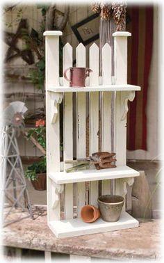 diy miniature picked fence | Picket Fence Shelf