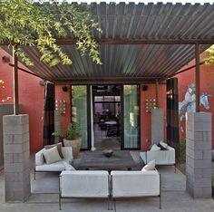 simple shade structure ~ block  corrugated metal http://gazebokings.com/